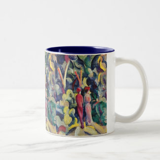 Couple on the Forest Track by August Macke Two-Tone Coffee Mug