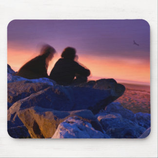 Couple on the rocks mouse pad