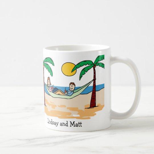 Couple on vacation - custom cartoon mug