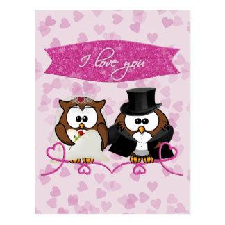 couple owl - I love you Postcard
