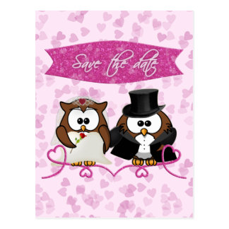 couple owl - save-the-date postcard