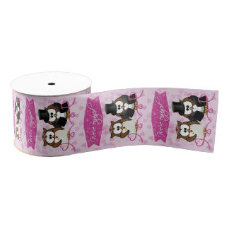 couple owl - we're engaged grosgrain ribbon