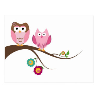Couple owls postcard
