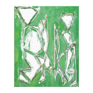 Couple Painting Green Decor Abstract Art Canvas Stretched Canvas Prints