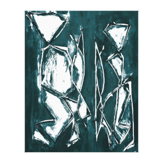 Couple Painting Grey Turquoise Abstract Art Canvas Gallery Wrapped Canvas