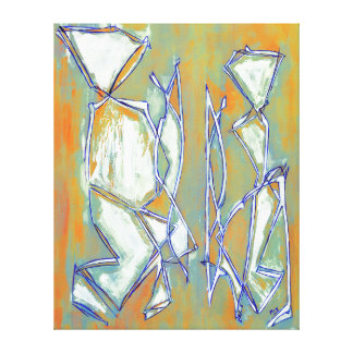 Couple Painting Orange Aqua Abstract Art Canvas Gallery Wrap Canvas