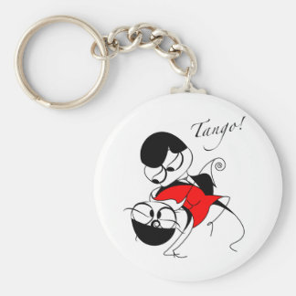 couple performing a tango step keychain