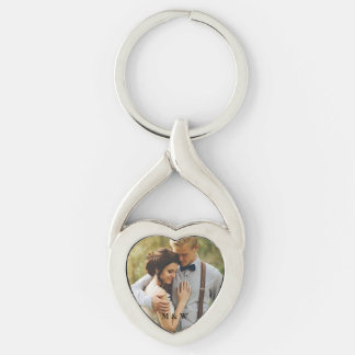 Couple Photo Heart Keychain