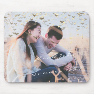 Couple Photo Name Sweet Memories Hearst Gold Mouse Pad