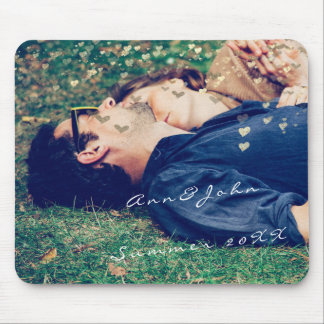 Couple Photo Name Sweet Summer Hearts Gold Mouse Pad