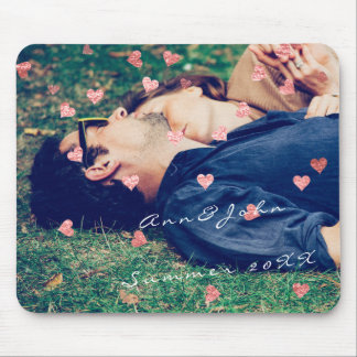 Couple Photo Name Sweet Summer Hearts Pink Mouse Pad
