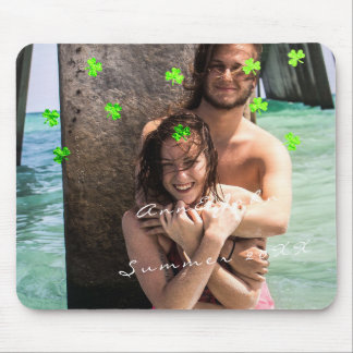 Couple Photo Name Travel Confetti Clover Green Mouse Pad