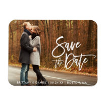 Couple Photo Save The Date Modern Brush Script Magnet