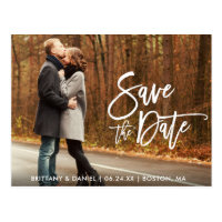 Couple Photo Save The Date Modern Brush Script Postcard