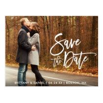 Couple Photo Save The Date Modern Brush Script Postcard