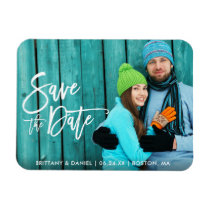 Couple Photo Save The Date Modern Brush Script W Magnet