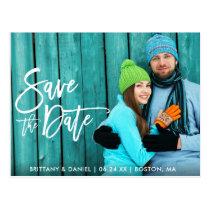 Couple Photo Save The Date Modern Brush Script W Postcard