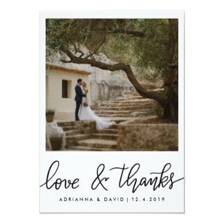 Couple Photo Wedding Love And Thanks Script Card