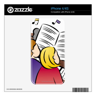 Couple Playing Piano Skins For iPhone 4S