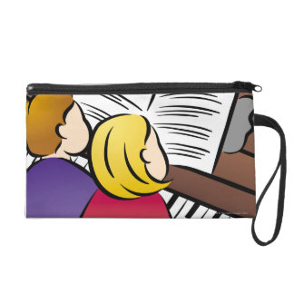 Couple Playing Piano Wristlet Purse