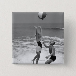 Couple Playing with a Beachball Button