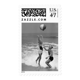 Couple Playing with a Beachball Postage