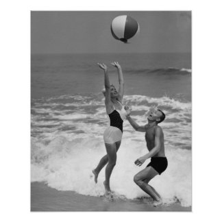 Couple Playing with a Beachball Poster