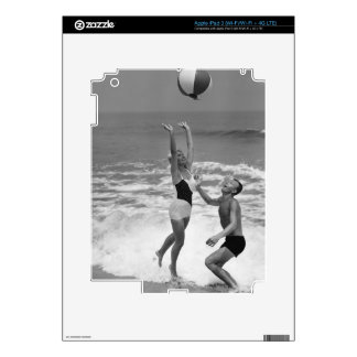 Couple Playing with a Beachball Skins For iPad 3