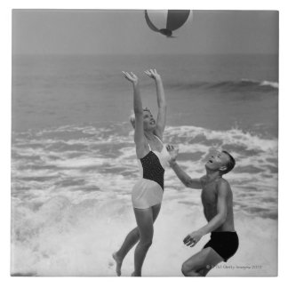 Couple Playing with a Beachball Tile