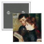 Couple Reading (Edmond Renoir and Marguerite Legra 2 Inch Square Button