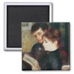 Couple Reading (Edmond Renoir and Marguerite Legra 2 Inch Square Magnet