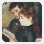 Couple Reading (Edmond Renoir and Marguerite Legra Square Sticker