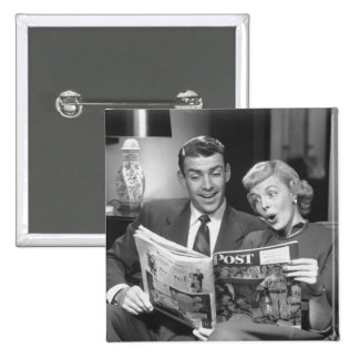 Couple Reading Magazine Pinback Button