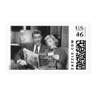 Couple Reading Magazine Postage Stamp