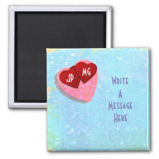 Couple Red Hearts Personalized Magnet
