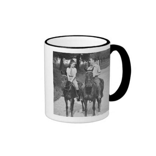 Couple Riding Horses Ringer Mug