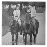 Couple Riding Horses Tile