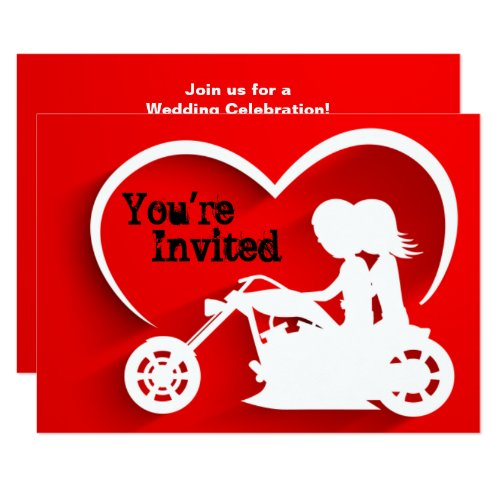 Couple Riding Motorcycle, Heart Wedding Invitation