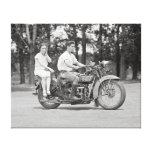 Couple Riding Motorcyle, 1928 Stretched Canvas Print