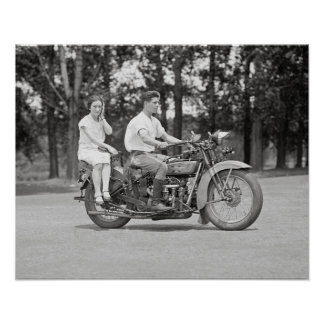 Couple Riding Motorcyle, 1928. Vintage Photo Poster