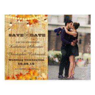 Couple romance kiss in fountain/fall theme postcard