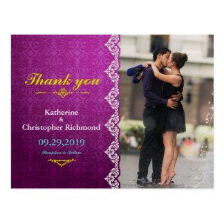 Couple romance kiss in fountain/purple vintage postcard