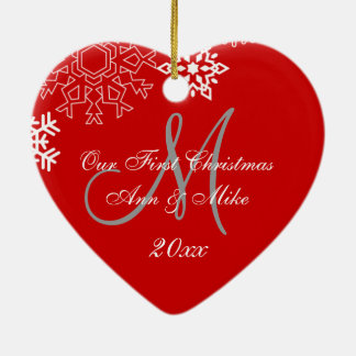 Couple s First Christmas Ornament Monogram RED