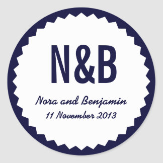 Couple s Initials Wedding Date Favor Seal Navy Sticker