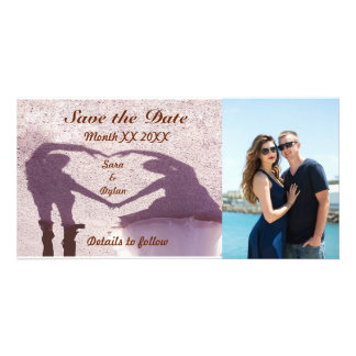 Couple & Shadow Heart Save the Date Photo Card