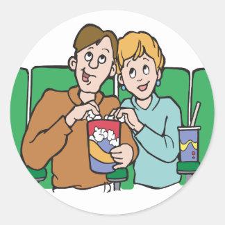 Couple Sharing Popcorn Classic Round Sticker