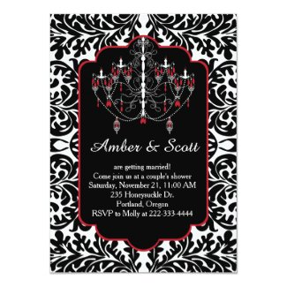 Couple shower black leafy damask, chandelier