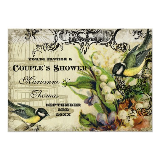 Couple Shower, Yellow Song Bird Cage Swirl Floral Card
