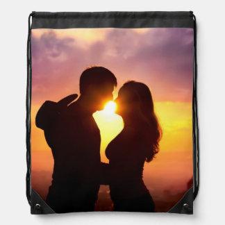 Couple Silhouette At Sunset Drawstring Bag