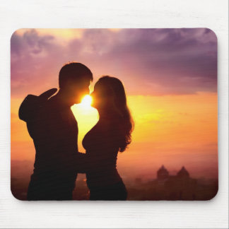 Couple Silhouette At Sunset Mouse Pad